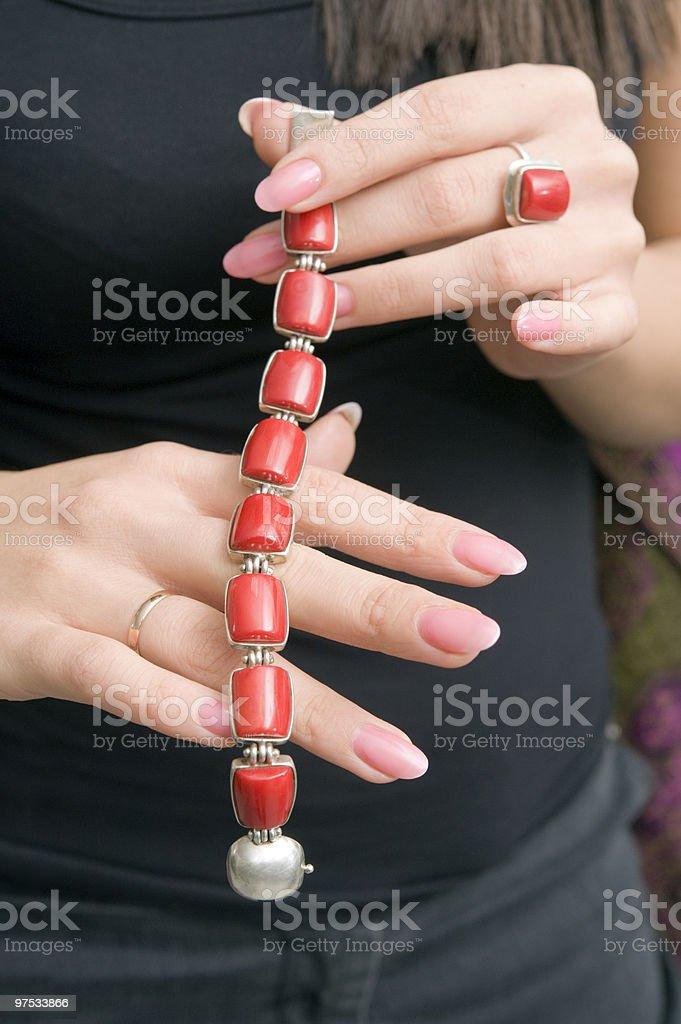 Red bracelet royalty-free stock photo