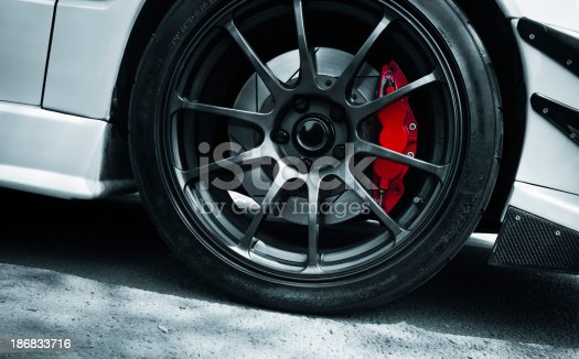 red brake white sport car