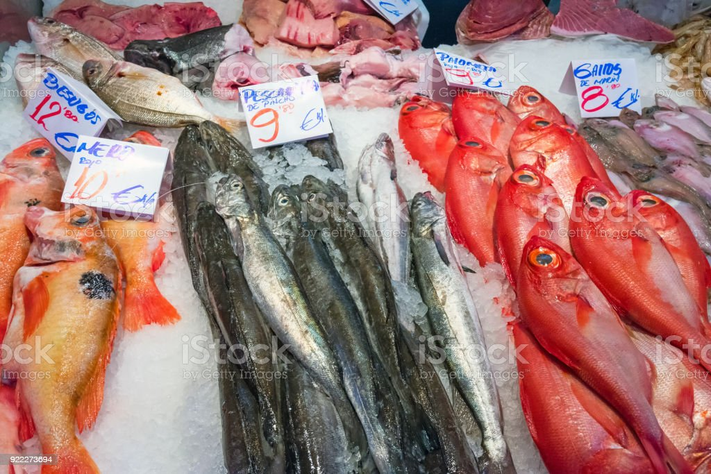 Red bream and other fish for sale stock photo
