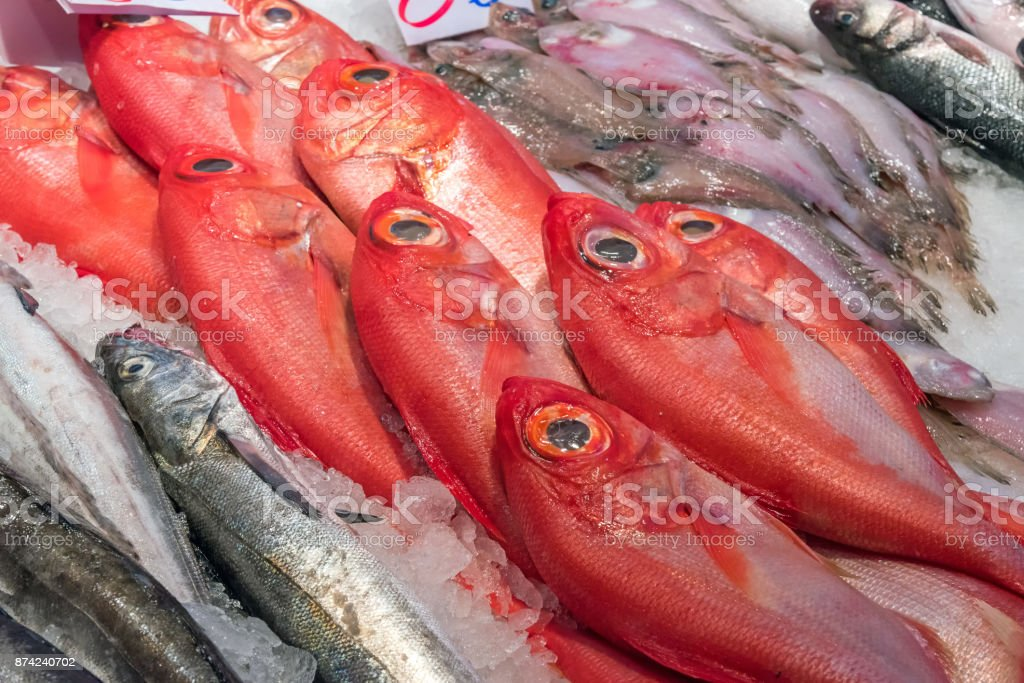 Red bream for sale at a market stock photo