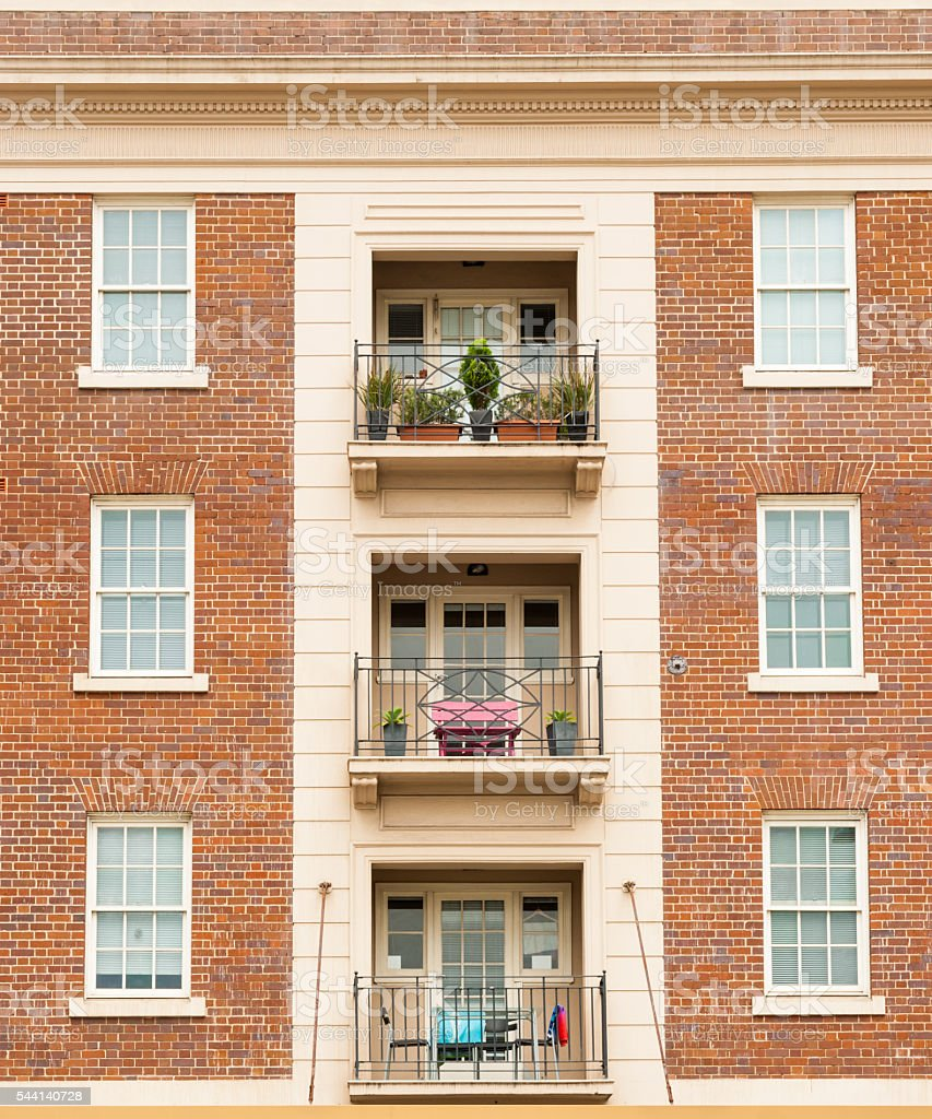 Red Brick Apartment Symmetry Stock Photo & More Pictures of ...
