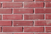 Red brick, backdrop texture. Building material for exterior walls. Brickwork red burgundy color