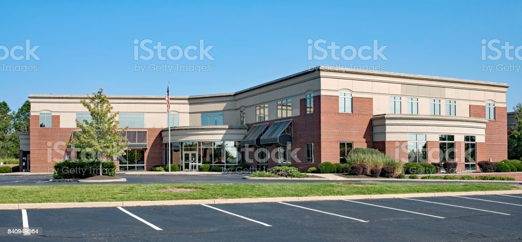 Red Brick Building with Concave Entrance stock photo