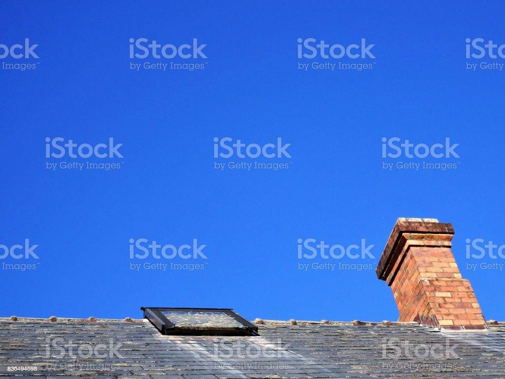 Conduit De Cheminee En Brique Rouge photo libre de droit de cheminée de brique rouge banque d