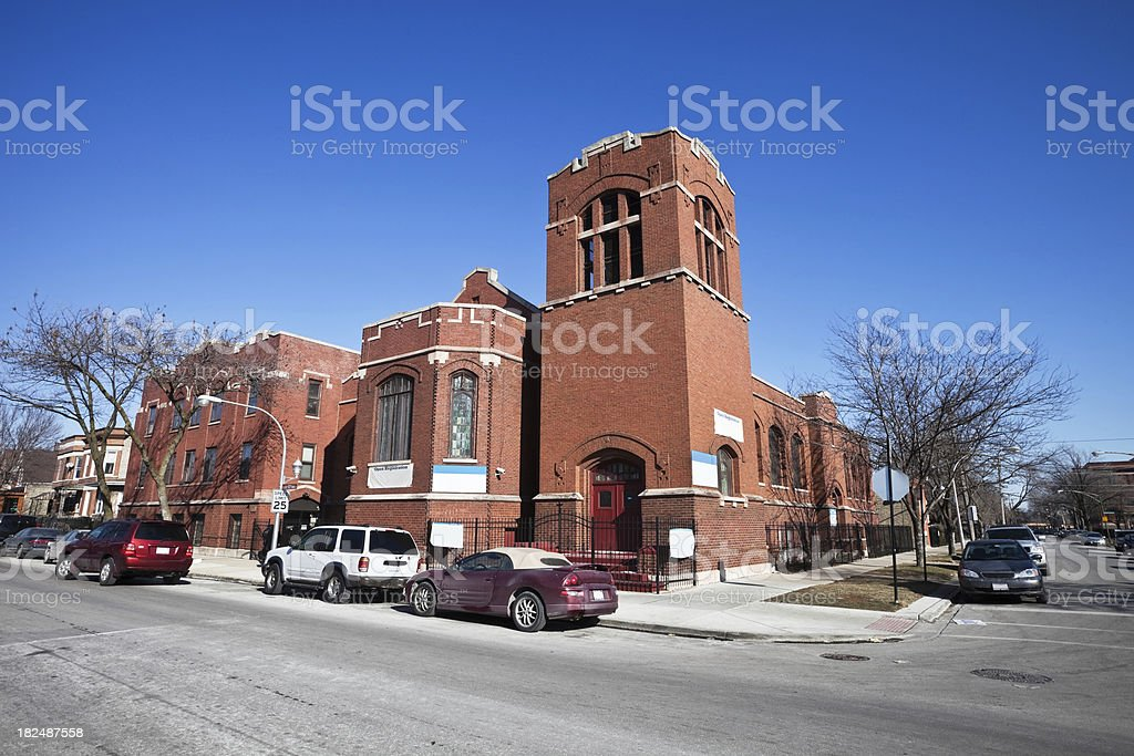 Red Brick Church in Chicago West Side Neighborhood royalty-free stock photo