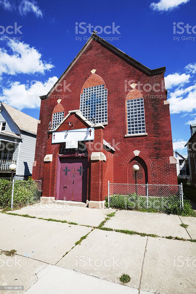 Red Brick Church in Fuller Park, Chicago royalty-free stock photo