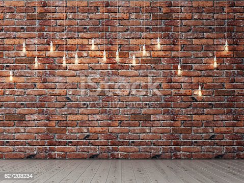 istock Red brick empty wall with light bulbs, background 627203234