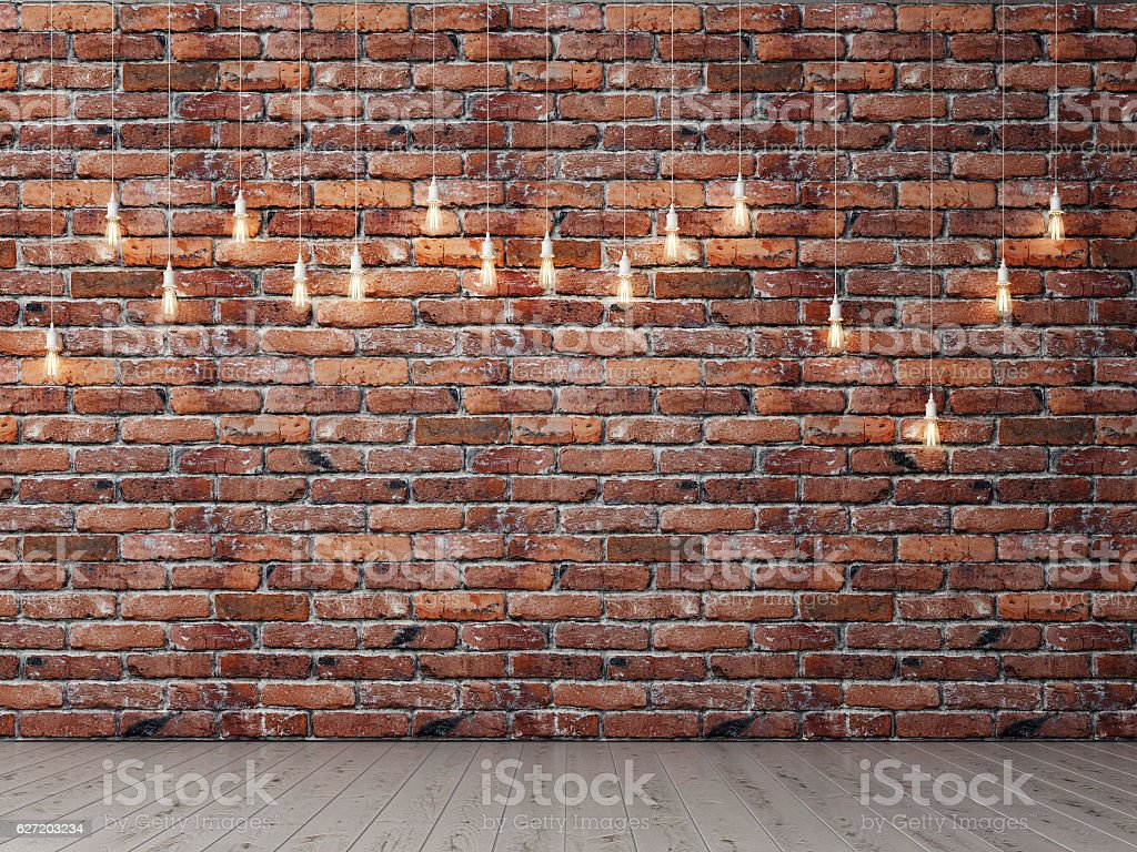 Red brick empty wall with light bulbs, background stock photo