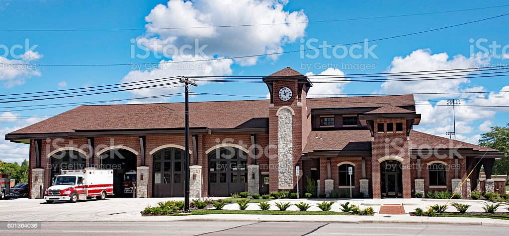 Red Brick Fire Station stock photo
