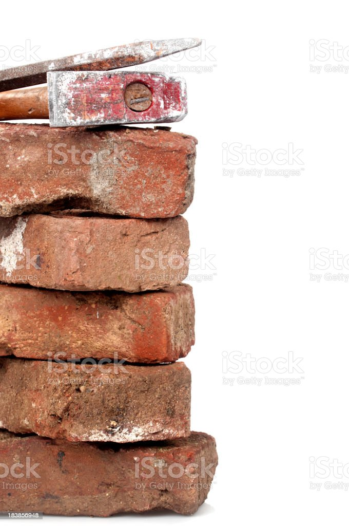 Red Brick, Hammer and Chisel stock photo