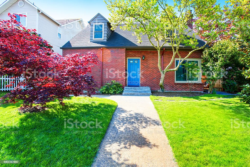 Red brick house with tile roof and maple tree Стоковые фото Стоковая фотография
