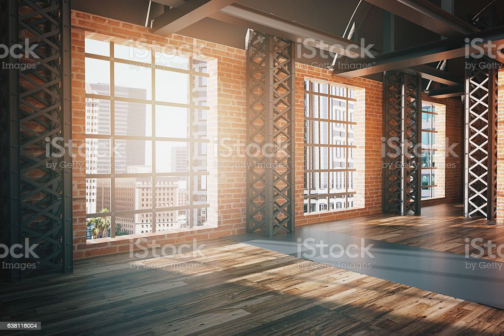 Red brick interior with city view side stock photo