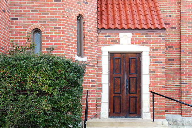 red brick manor entrance vintage wood door stock photo