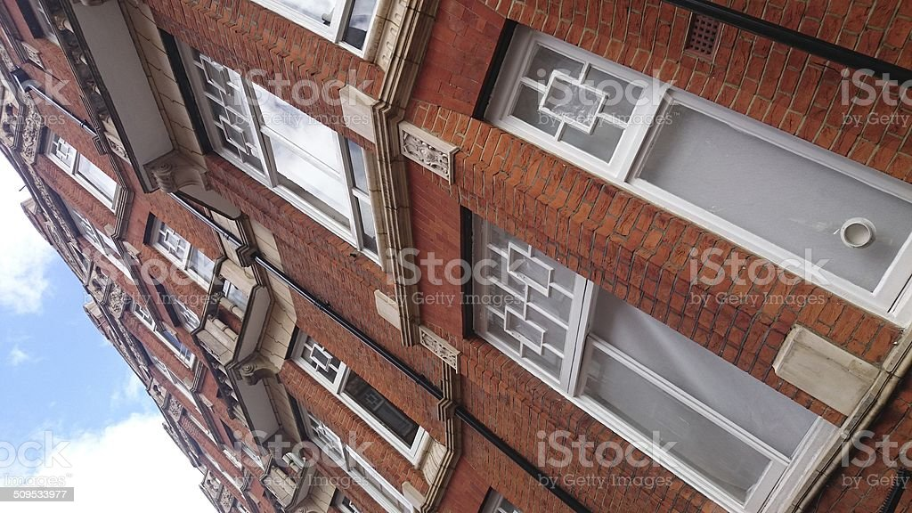 Red Brick Mansion Block in London stock photo
