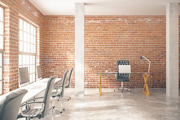 Red brick office stock photo
