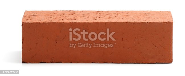 A red brick isolated on white.
