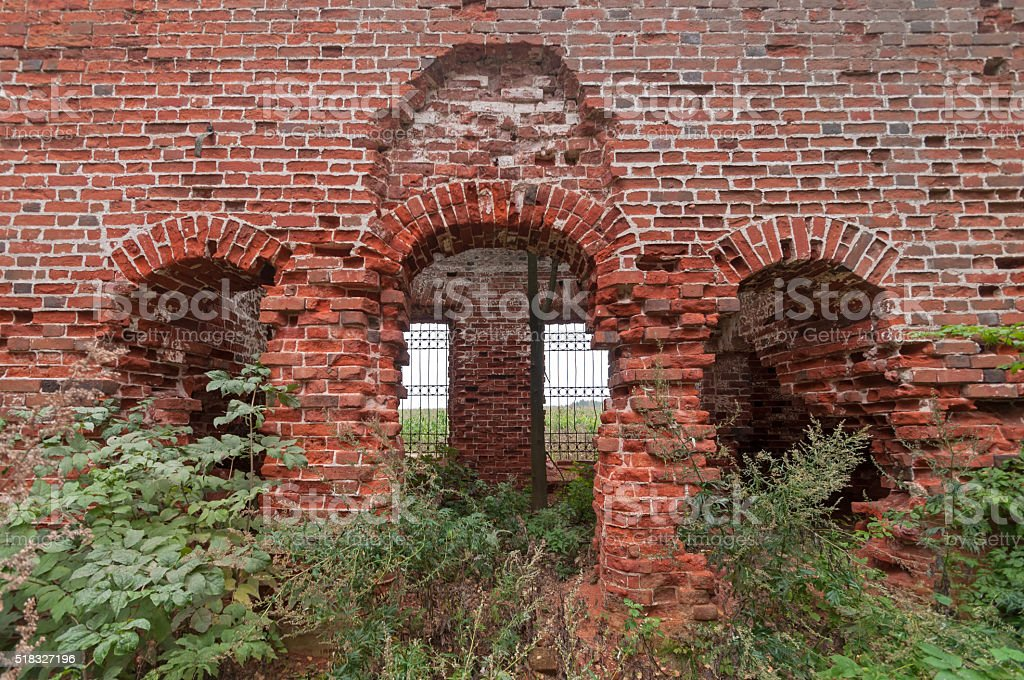 Red brick sanctuary ruins with arched doors and windows royalty-free stock photo & Red Brick Sanctuary Ruins With Arched Doors And Windows Stock Photo ...
