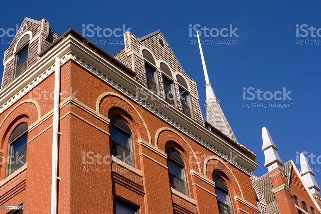 Red Brick School Classical Architecture of Educational Building stock photo