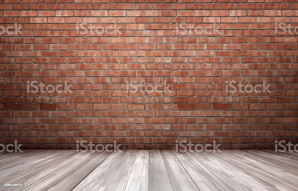 Red brick wall and wooden floor stock photo
