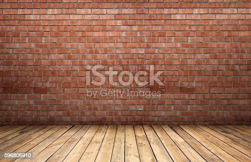Red Brick Wall And Wooden Floor Stock Photo More Pictures Of Apartment