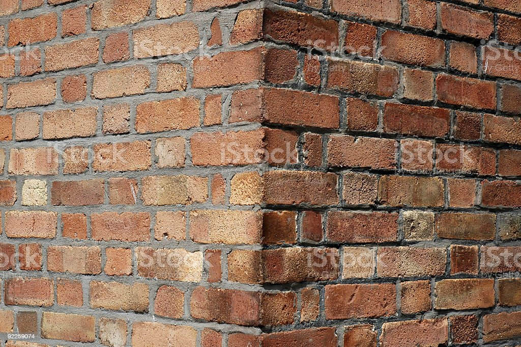 Red brick wall corner royalty-free stock photo