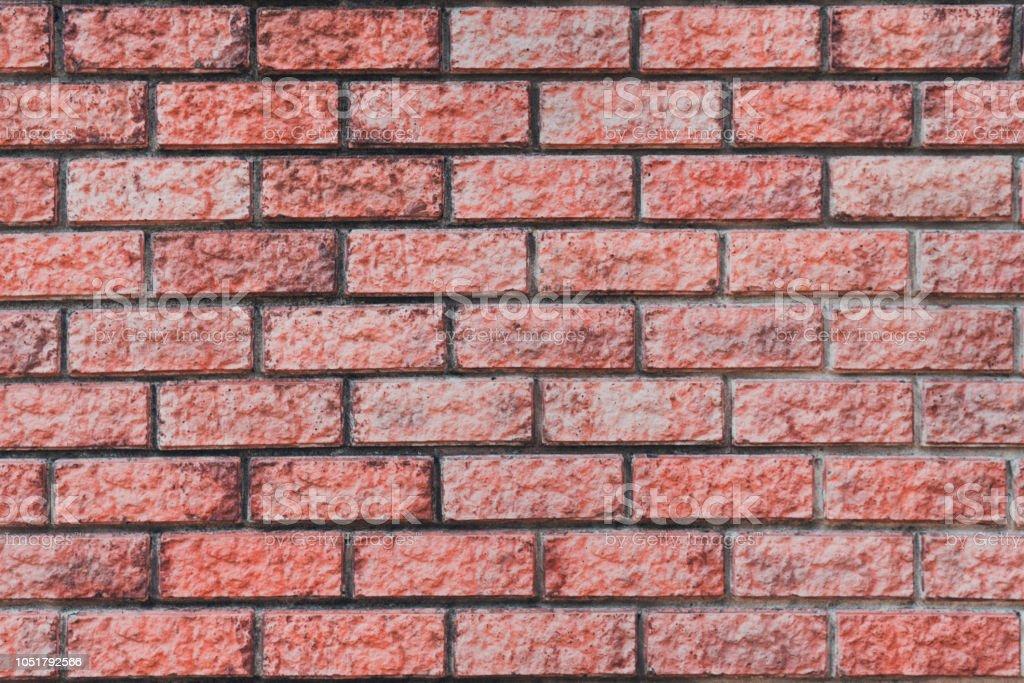 Red brick wall. Horizontal brickwork. Surface of masonry wall....