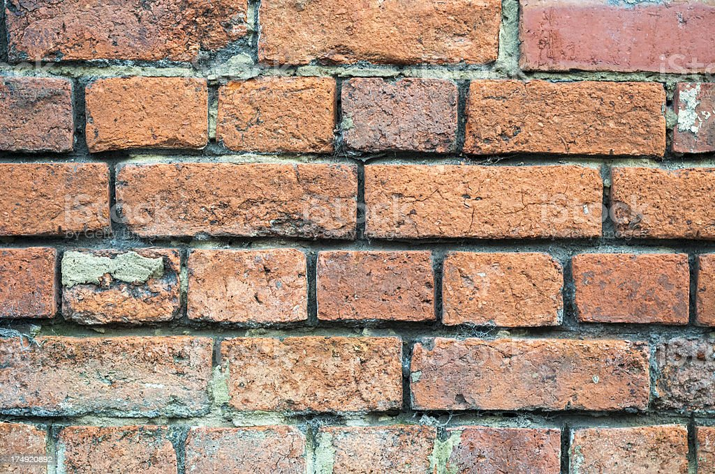 Red Brick Wall In Bad Condition royalty-free stock photo
