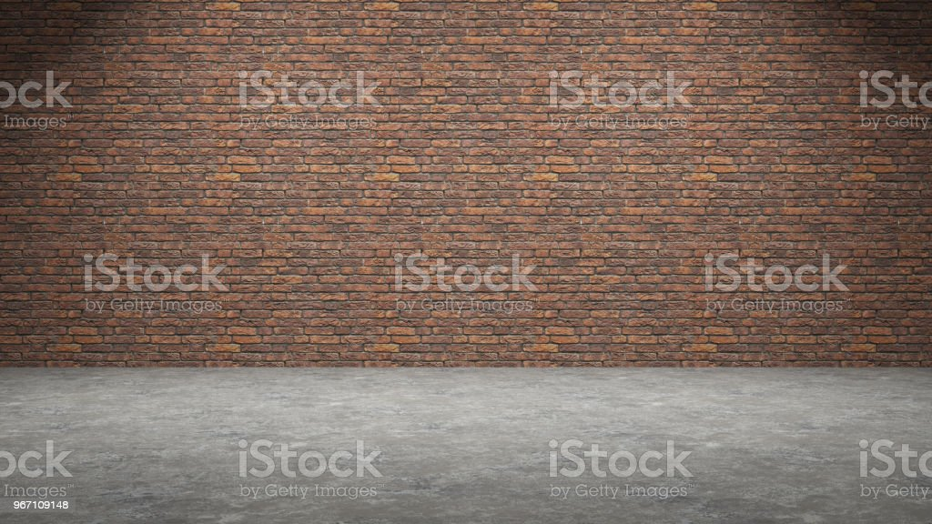 Red Brick Wall Interior Design With On A Concrete Floor 3d Rendering
