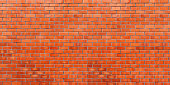 red brick wall panorama background and texture with copy space.