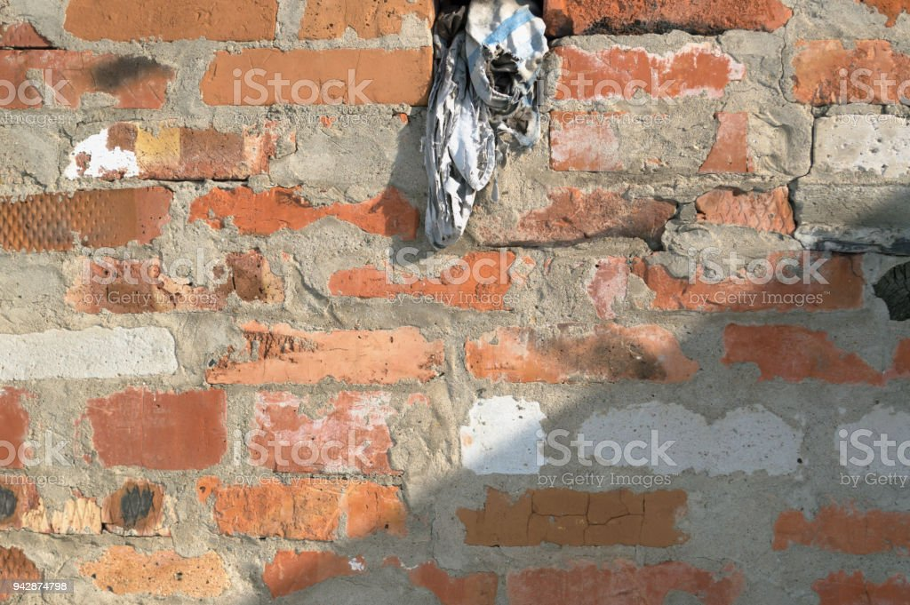 936c803ba7 Red Brick Wall With Roof Shadow And Old Dirty Rag Stock Photo & More ...