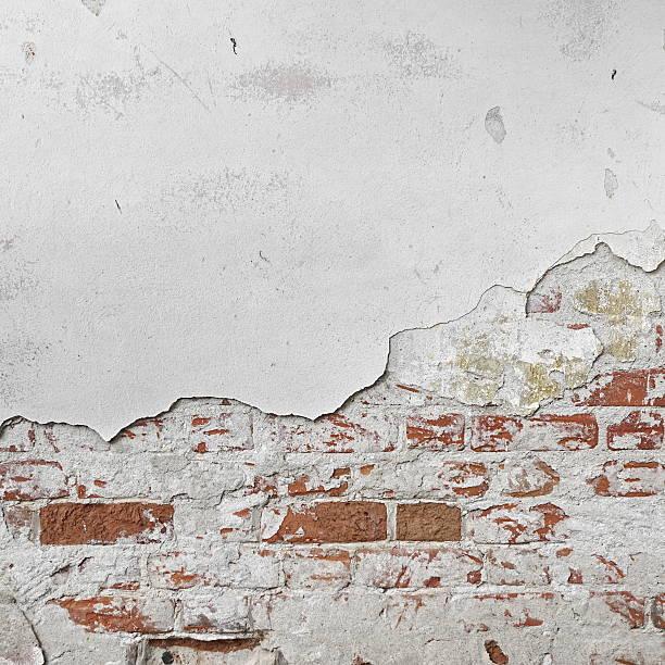 Red Brick Wall With  Shabby White Plaster Rectangular Background stock photo