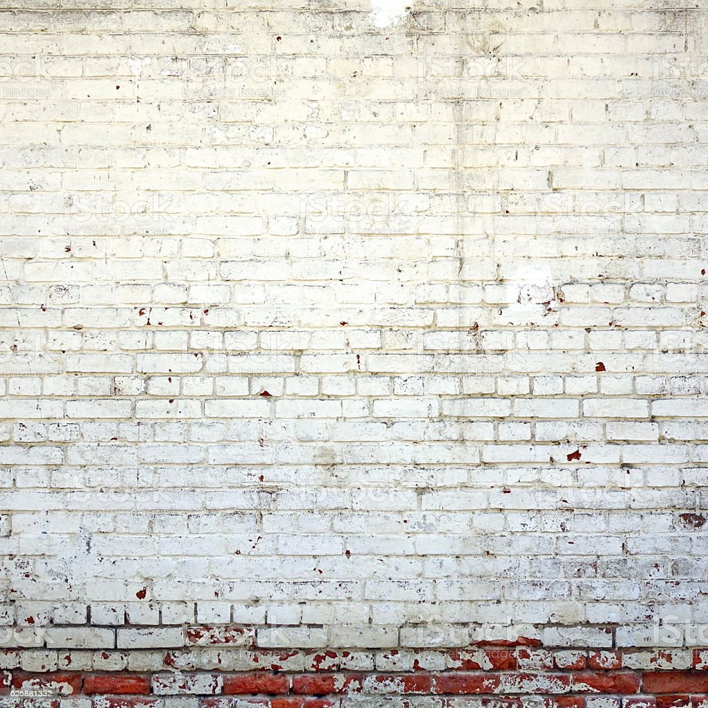 Red Brick Wall With  Shabby White Plaster Rectangular Background stock photo