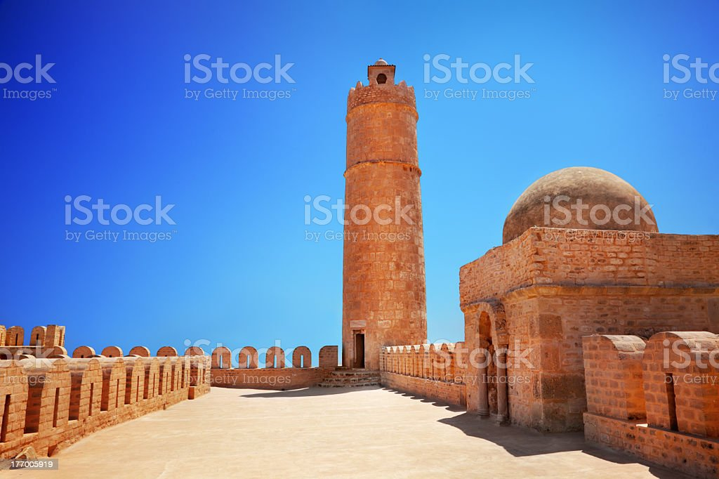 Red bricks construction of Ribat Tower in Sousse stock photo