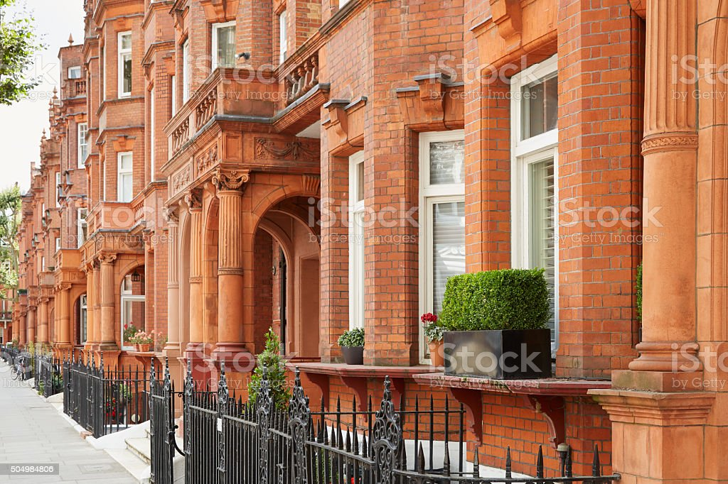 Red bricks houses in London, english architecture stock photo