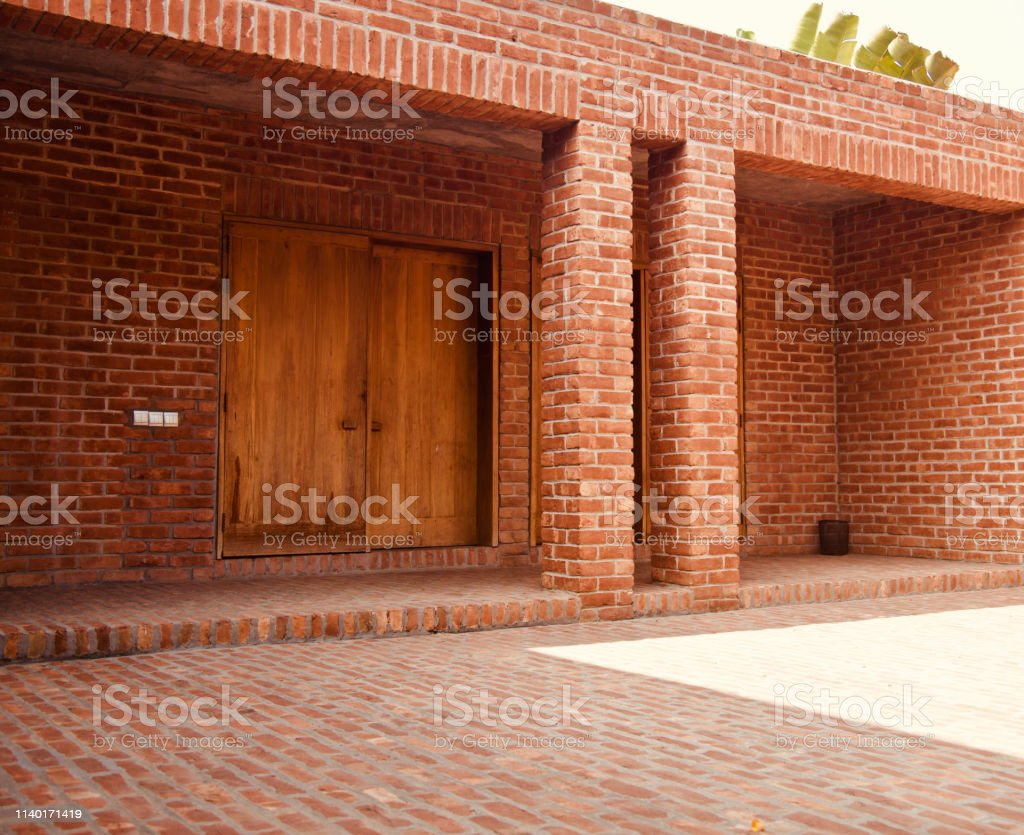 Red bricks made modern architectural building stock photo