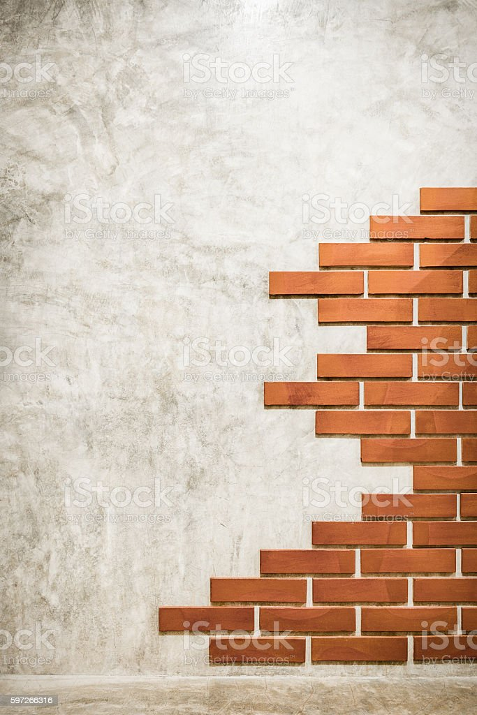 Red bricks pattern on polished cement wall. Lizenzfreies stock-foto