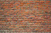 Red aged bricks texture. Old cracked and weathered bricks wall background. Texture for design and text