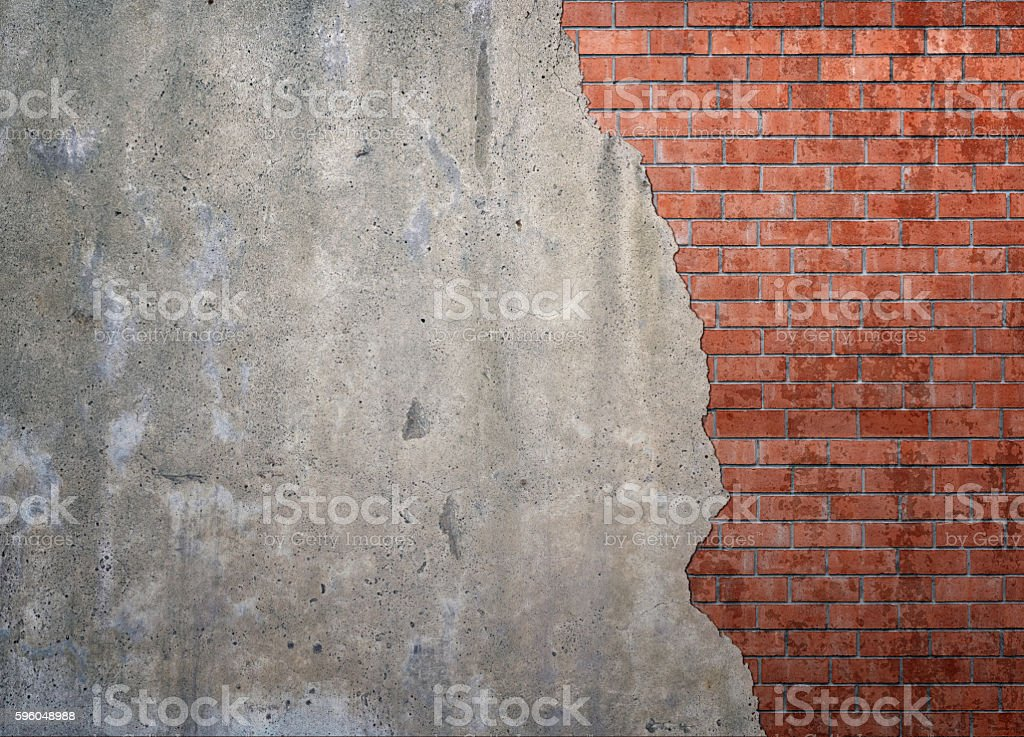Red brickwork underneath concrete wall royalty-free stock photo