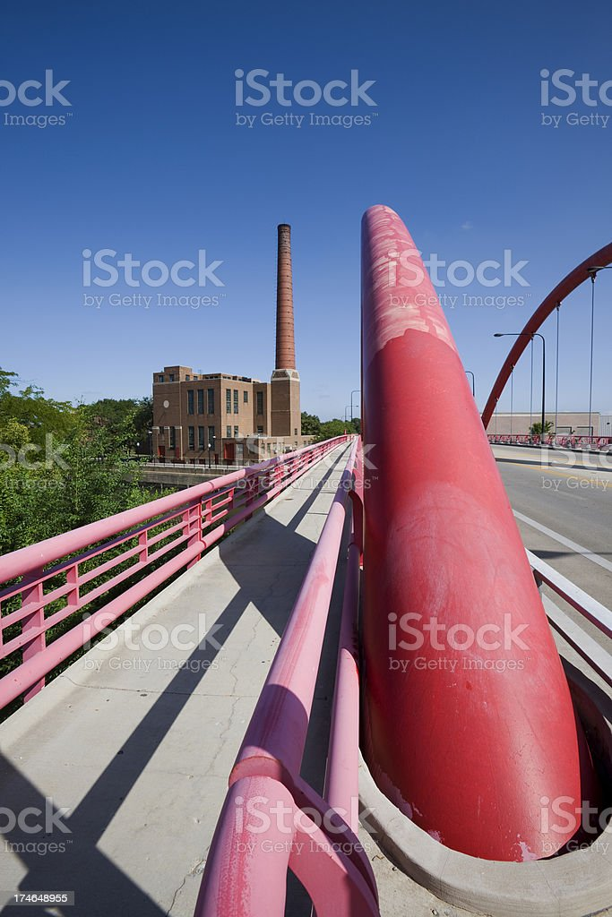 Red Bridge and Factory in Chicago royalty-free stock photo