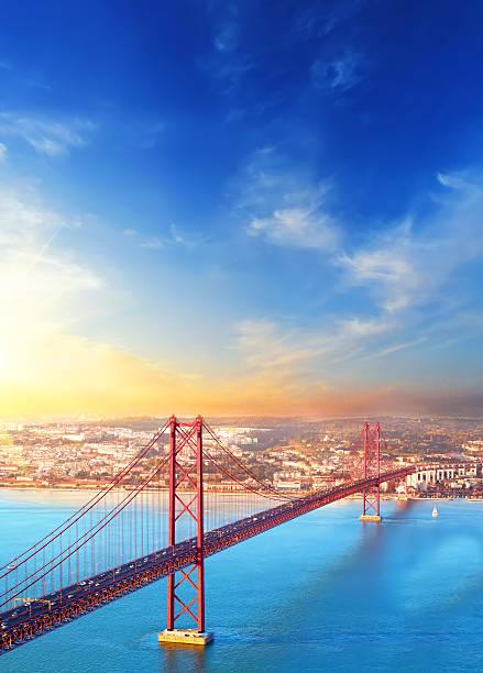 Red bridge at sunset, Lisbon, Portugal stock photo