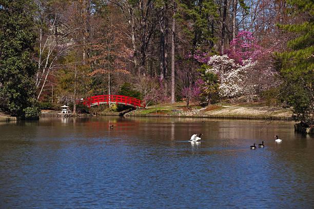 Rote Brücke im Japanischen Garten – Foto