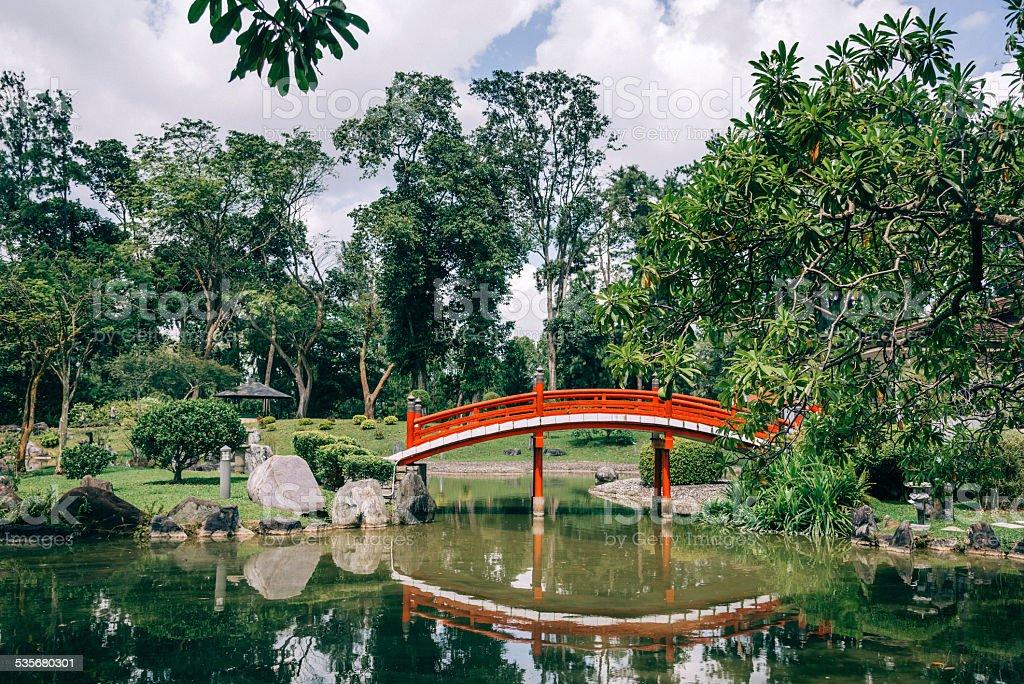 red bridge in japanese garden singapore royalty free stock photo - Red Japanese Garden Bridge