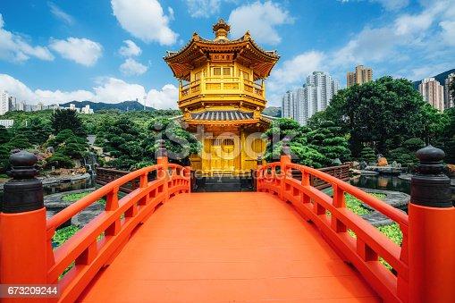 Red bridge in Nan Lian Garden, Diamond Hills, Hong Kong