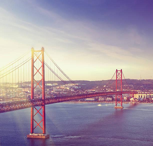 Red bridge, Lisbon, Portugal stock photo