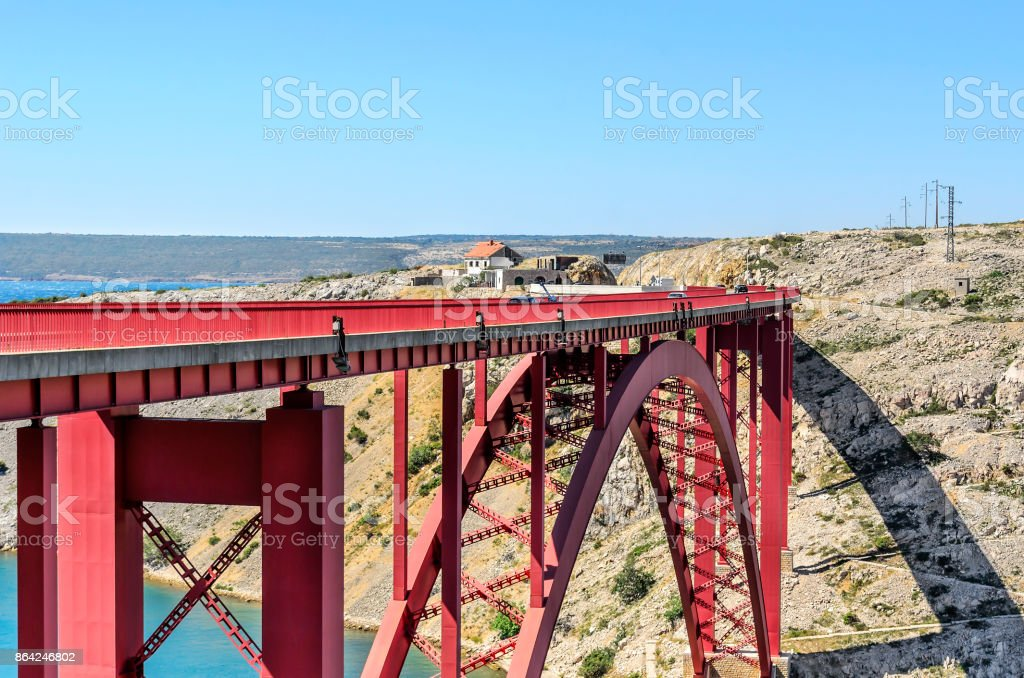 Red Bridge Maslenica, Croatia. royalty-free stock photo