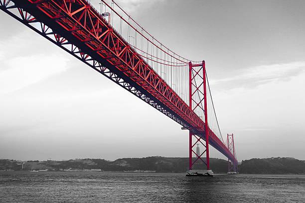 Red Bridge on a monochromatic background stock photo