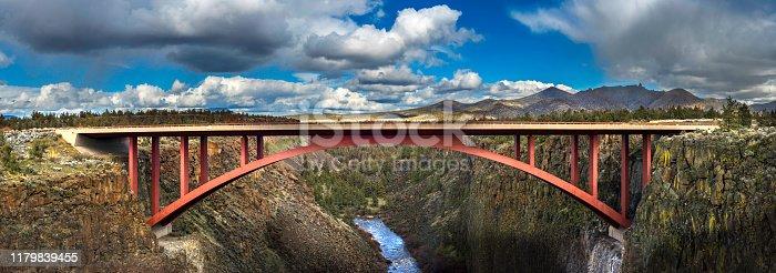 Red Bridge over Desert Canyon