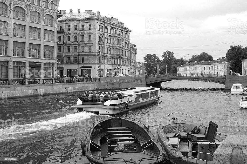Red Bridge over Moika River in Saint Petersburg, Russia. stock photo