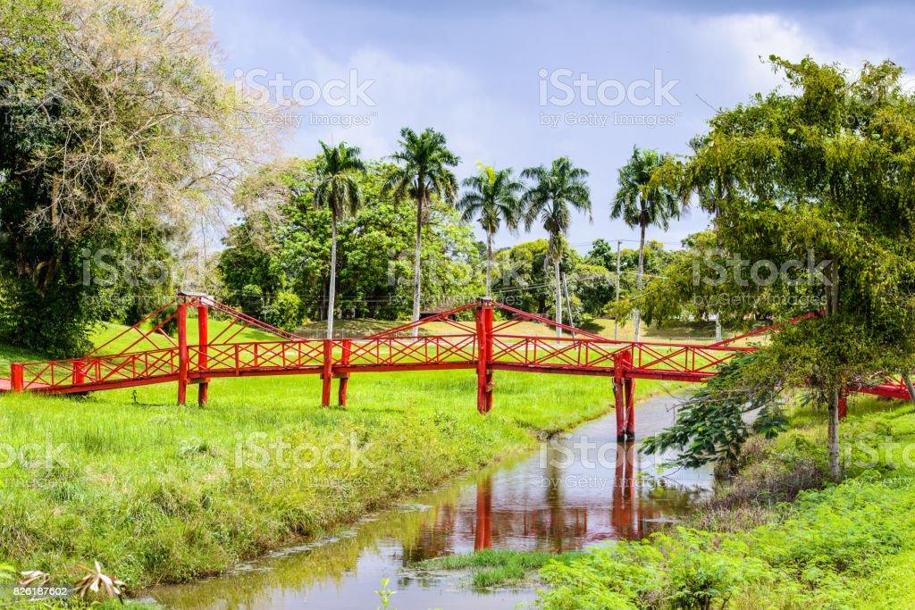 Red bridge over the river in Suriname stock photo