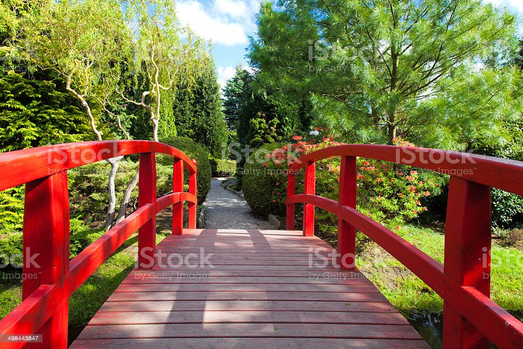 formal garden japanese garden bridge built structure color image cultures